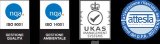 Loghi certificazioni ISO 9001, ISO 14001, SOA 600